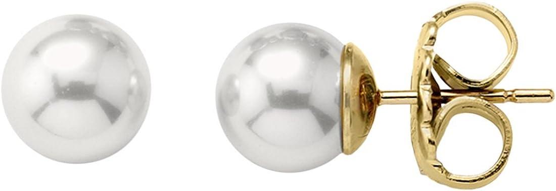 Majorica - Pendientes, perlas blancas redondas de 10 mm