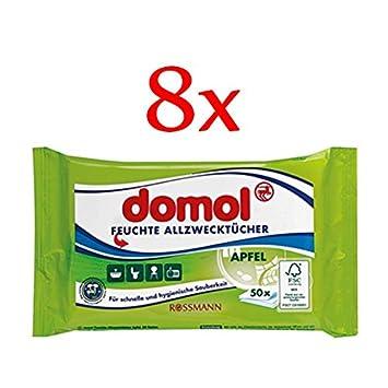 domol - Toallitas húmedas multiusos manzana (Pack de 8, 8 x 50 unidades Bolsa): Amazon.es: Hogar