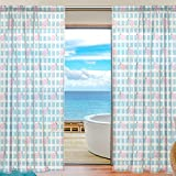The Chevron Pink Flamingo Contracted Blue Plaid Window Curtain Sheer Panels 54 x 78 Inches Long Set of 2,Window Treatment Drape for Living Room Bedroom Home Decor