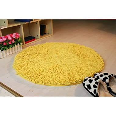 Nicedeco Comfortable Rug Approx. 60*60cm(23.62inches) Chenille Wholesales Price Color Yellow Flexible/Soft/Smooth Carpet/Mat/Rug Suitable For Stairway/Toilet/Study/Floor/Bedroom/Living Room/Bathroom/Kitchen/Home Decoration/Area