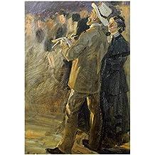 "Global Gallery ""Peter Severin Kroyer The Artist Laurits Tuxen"" Unframed Giclee on Paper Print, 22"" x 15.25"""