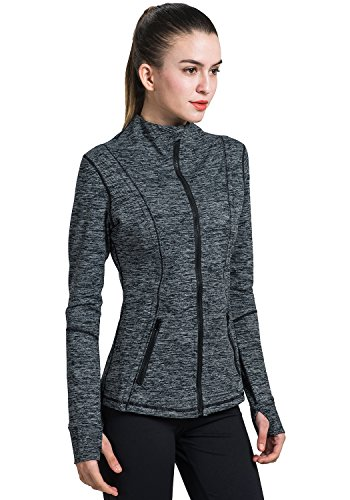 Black Zip Track Jacket - Matymats Women's Active Full-Zip Track Jacket Yoga Running Athletic Coat With Thumb Holes,Medium,Heather Black