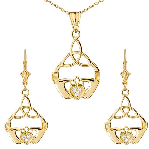 Exquisite Diamond Claddagh Trinity Knot Pendant Necklace and Earrings Set in 10k Yellow Gold, 16