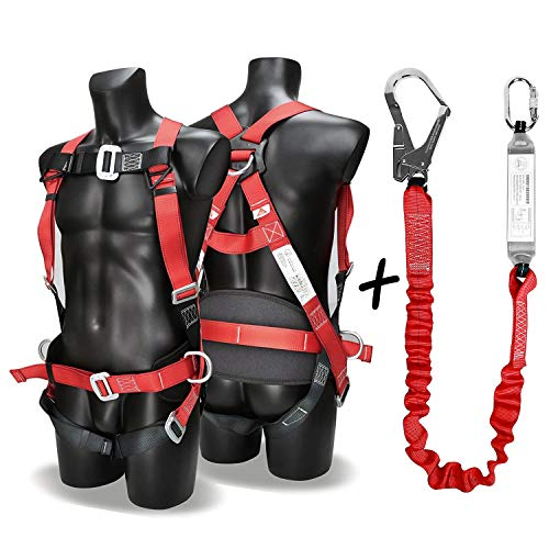 Osha Safety Harness - DCM Fall Arest Protection Universal Padded Safety Harness Kit with Shock Absorb Webbing Lanyard