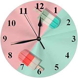 Moslion Ice Cream Clock Summer Pink Green Popsicle Food Round Wall Clock Slient Non Ticking Rustic Home Decor 10 Inch for Kitchen Bathroom Office