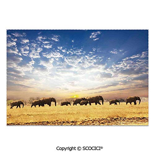 (SCOCICI Place Mats Set of 6 Personalized Printed Non-Slip Table Mats Elephants African Wild Animals Golden Colored Desert at Sunrise Scenery Picture for Dining Room Kitchen Table Decor)