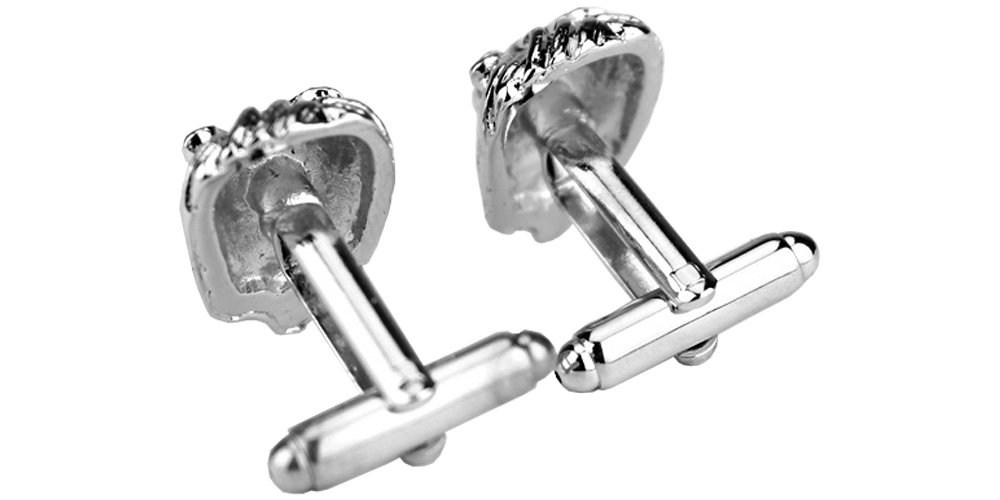D&L Menswear Rhodium Plated Lion Head Cufflinks with Black Gift Box by D&L Menswear (Image #4)