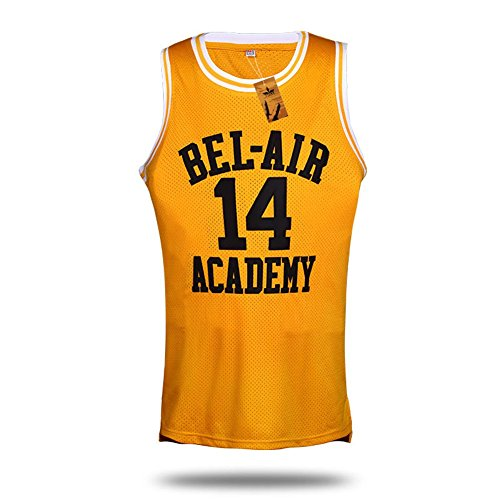 VTURE Basketball T-shirts Will Smith #14 Bel Air Academy Basketball Jerseys (Medium)