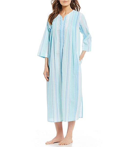 new product genuine look good shoes sale Miss Elaine Women's Seersucker Long Zip Robe
