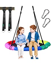 """Ohuhu Saucer Tree Swing for Kids 40"""", 660lb Weight Capacity, Outdoor Flying Swing with Hanging Straps, Carabiner, Steel Frame and Adjustable Ropes, Easy Install, Great for Playground Swing, Backyard"""