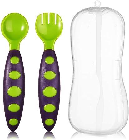Ldawy Juego de cubiertos para niños pequeños, utensilios para bebés Juego de tenedor con cuchara con estuche de viaje seguro Perfecto para niños Cuchara de entrenamiento de alimentación: Amazon.es: Hogar