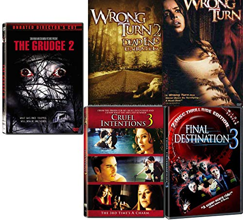 Trapped Thrills Unleashed 5 Movie Collection Grudge 2 / Cruel Intentions 3 / Final Destination 3 / Wrong Turn / Wrong Turn Dead End Unrated DVD Horror Sequels Pack -