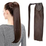 22' Human Hair Ponytail Wrap Around Clip in Ponytail Hair Extensions for Women Dark Brown(#2) 100g/3.5oz