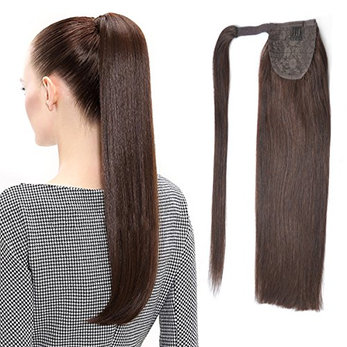 22'' Human Hair Ponytail Wrap Around Clip in Ponytail Hair Extensions for Women Dark Brown(#2) 100g/3.5oz by BHF