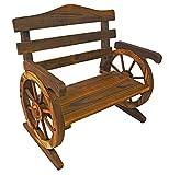PierSurplus Rustic Wooden Wagon Wheel Design Junior Outdoor Bench/Loveseat Chair Product SKU: PF06110