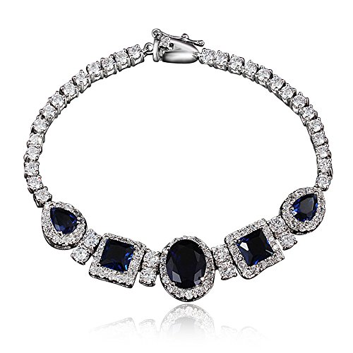 Price comparison product image Top Level Quality Ruby Sapphire Emerald Bracelet for Bride with Sapphire