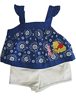 Baby Girls Blue White Floral Winnie the Pooh 2 Pc Shorts Set 12-24M