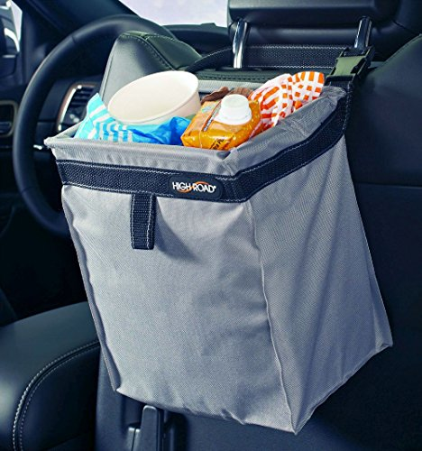 High Road TrashStash Leakproof Hanging Car Trash Bag with Spring Frame Closure - Gray - Hinged Gray Metal