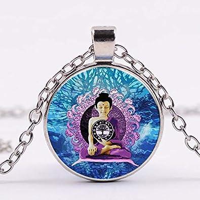 India Buda Estatua meditación Monje Figura tathagata Collar ...