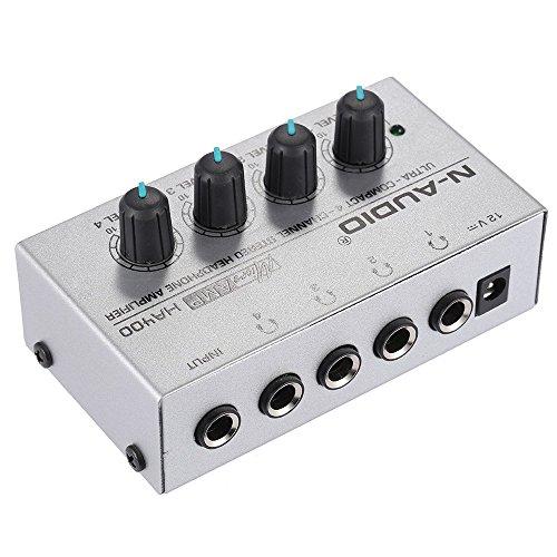 ammoon HA400 Ultra kompakter 4 Kanal Mini Audio Stereo Kopfhörerverstärker mit Netzteil