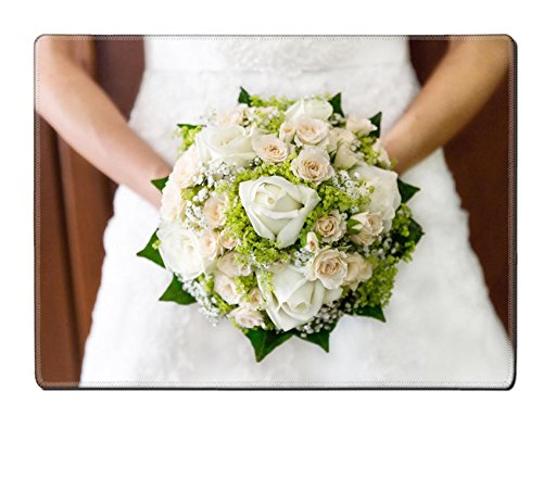Rose Petal Place Costume (MSD Natural Rubber Placemat IMAGE ID: 29479372 bride holding bouquet of white roses)