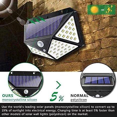 100 luces LED de pared solares de 3 modos al aire libre con sensor de movimiento luz de seguridad montaje en pared 270 /° de ancho con energ/ía solar a prueba de calor resistente al agua para jard/ín