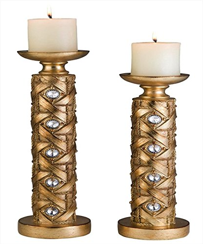 - Ore International K-4260-C4 Mahla Candleholder Set, 14-Inch by 16-Inch Height, Gold