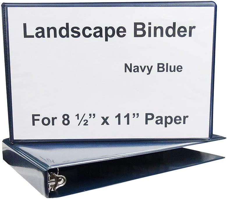 Amazon Com Landscape Binder Horizontally Formatted One Inch Ring Size 13 Inch Wide To Hold Standard Paper Index Tabs And Sheet Protectors Blue Vinyl Office Products