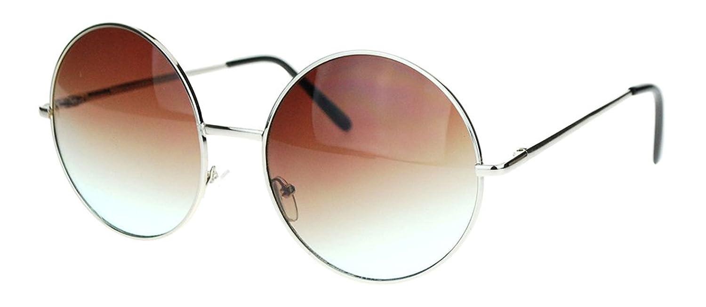 Brand-New Womens Hippie Gradient Oversize Circle Lens-Brown