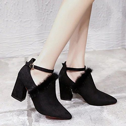 Heels Plush with Shoes Deep Women Cotton Shoes EUR34 All Match Fashion a 5 Plus High Mouth Pointed black Single Shoes qf184v1wp