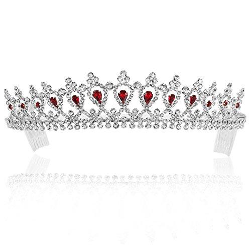 Bridal Pageant Rhinestones Crystal Wedding Tiara Crown - Silver Plated Red Crystals T555 -