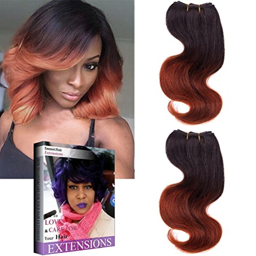 Emmet Brazilian Hair Extension Ombre Color Hair Can be Dyed and Permed Body Wave Easy Installing&Sewing 8Inch Short Size 100% Human Hair Weave 2PCS/Lot 50g/Piece, with Hair Care Ebook (1B/350)