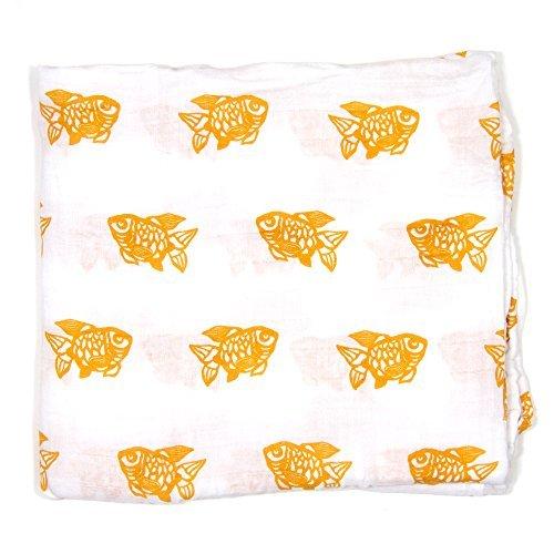 Muslin Swaddling Blanket (Orange Goldfish) Made from Organic Cotton by Bambino Land
