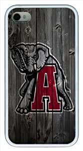 Alabama Crimson Tide Alternate Logo wood background iPhone 4 4s Case, white Case for iPhone 4 4s, Cover Case for iPhone 4 4s