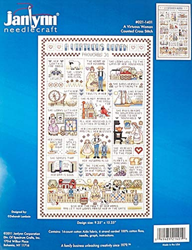 Bubbles Counted Cross Stitch - Janlynn 14 Count A Virtuous Woman Counted Cross Stitch Kit, 9-1/4-Inch by 15-1/4-Inch