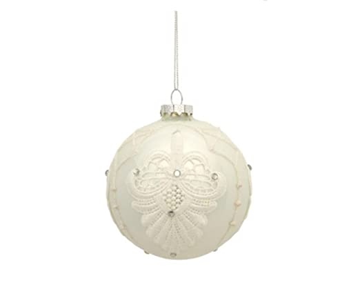 Christmas Tablescape Decor - Vintage style white blooming Fleur de Lis lace and faux rhinestone embellished glass ball Christmas ornament
