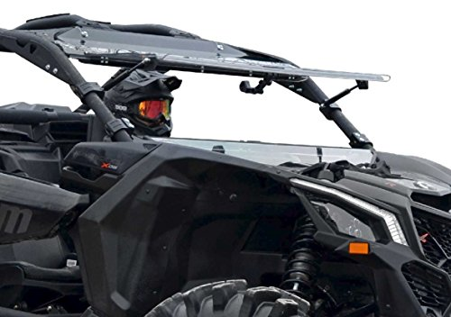 Flip Windshield - SuperATV Can-Am Maverick X3 900 / Turbo/X RS/X DS/X MR/MAX Heavy Duty Scratch Resistant Flip Windshield (2017+) - Can Be Set To 3 Different Positions!
