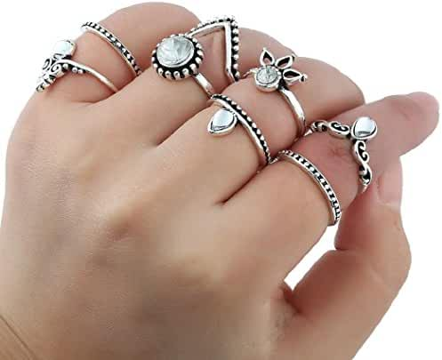SUNSCSC Vintage Rhinestone Crystal Above Knuckle Stacking Band Midi Mid Ring Set of 7 or 8 pcs