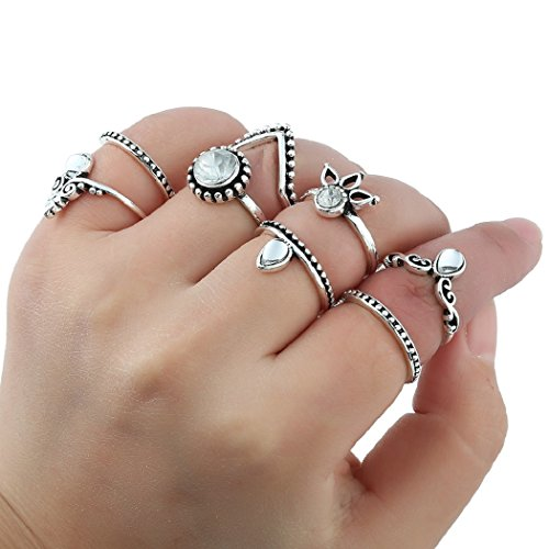 SUNSCSC Vintage Retro Silver Plated Flower Crystal Joint Knuckle Nail Ring Set of 8pcs