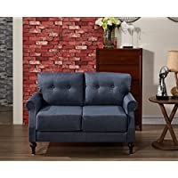 US Pride Furniture Contemporary Fabric Upholstered Loveseat Sofa With Rolled Arms and Tufted Finish Denim