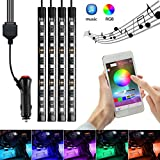 AMBOTHER 4x Car LED RGB Music Interior Atmosphere Floor Underdash Lighting RGB Music Control Strip Lights Kit Multicolor APP Bluetooth Controller for iPhone Android
