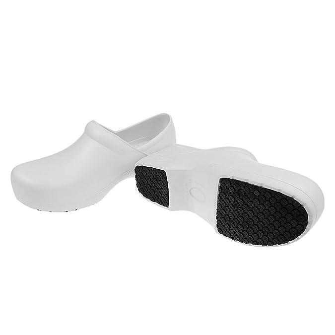 Sharplace Sandalias Zapatillas Zapatos de Seguridad Antideslizante a Prueba de Aceite Para Chef Cook Hombres Mujeres - Negro, 39