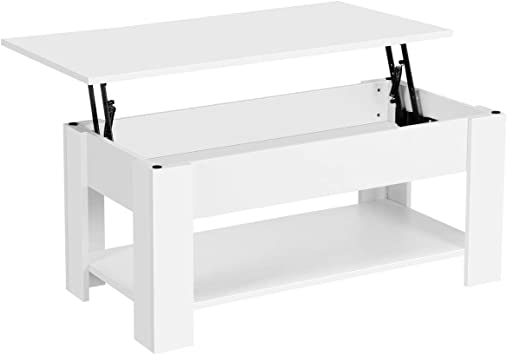 Yaheetech Lift Top Coffee Table Whidden Storage Compartment And Storage Shelf Lift Tabletop For Living Room Reception Room White