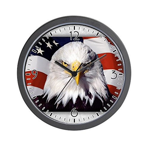 American Eagle Clock - Wall Clock Bald Eagle on US American Flag