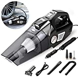 Uleete 2 in 1 Portable Car Vacuum Cleaner and Air Compressor Tire Inflator, 5.5KPA High Power Car Vacuum Cleaner with LED Light,DC 12V Air Pump for Car Tires and Other Inflatables