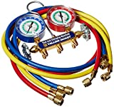 """Yellow Jacket 42007 Series 41 Manifold with 3-1/8"""" Gauge, 60"""" Plus II Standard Fittings, psi, R-12/22/134A"""