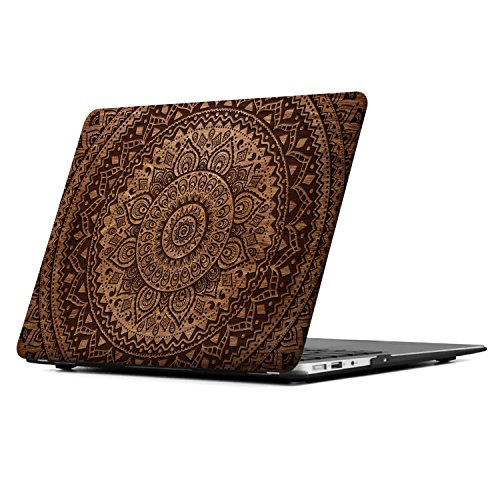 iCasso Macbook Air 13 Inch Case Art Printing Matte Hard Shell Plastic Protective Cover For Macbook Air 13 Inch Model A1369/A1466 (Mandala&Wood 2)