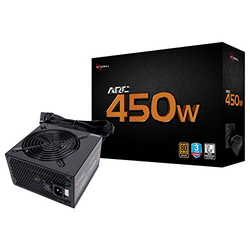 Rosewill Gaming Power Supply, Arc Series 450 Watt (450W) 80 Plus Bronze Certified PSU with Silent 120mm Fan and Auto Fan Speed Control, 3 Year Warranty – ARC450
