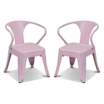 Outstanding Costzon Set Of 2 Kids Steel Chair W Backrest Industrial Activity Chair Stackable For Indoor Outdoor Use Preschool Bedroom Playroom Steel Chair Interior Design Ideas Gentotryabchikinfo