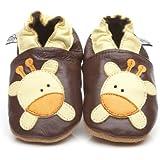 Chaussons Bébé en cuir doux - Girafe - 6/12 mois